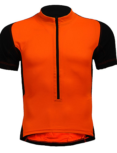 cheap Cycling Clothing-Men's Short Sleeve Cycling Jersey - Red Blue Black / Orange Solid Color Plus Size Bike Jersey Breathable Sports Nylon Elastic Mountain Bike MTB Road Bike Cycling Clothing Apparel / Stretchy