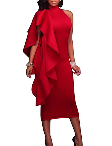 da5eae06dd Mujer Fiesta Noche Sensual Delgado Corte Bodycon Vestido Un Color Hasta la  Rodilla Cuello Barco Rojo
