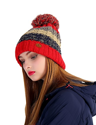 VEPEAL Hiking Cap Skull Cap Beanie Hat Windproof Keep Warm Stretchy Winter  Red Women s Hiking Traveling Ski Patchwork Teen Adults  ad7228046625