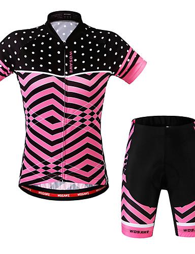 cheap Cycling Clothing-WOSAWE Women's Short Sleeve Cycling Jersey with Shorts - Fuchsia Plus Size Bike Shorts Jersey Clothing Suit 3D Pad Sports Scales Mountain Bike MTB Road Bike Cycling Clothing Apparel / Advanced