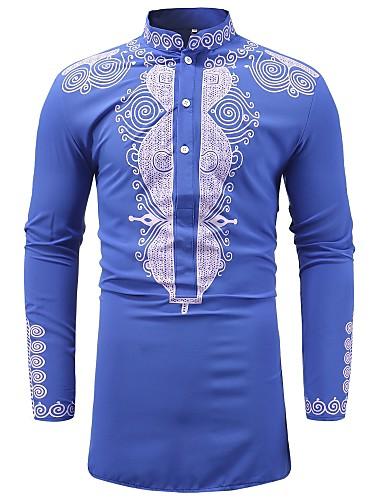 Tryck, Geometrisk Skjorta - Vintage / Grundläggande Herr Kinakrage Blå XL / Långärmad