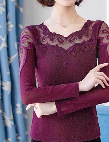 abordables Hauts pour Femmes-Chemisier Femme, Couleur Pleine Violet