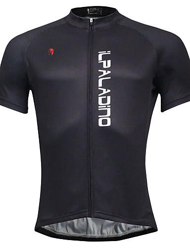 cheap Cycling Clothing-ILPALADINO Men's Short Sleeve Cycling Jersey - Black Solid Color Bike Jersey Top Quick Dry Sports Polyester Coolmax® Eco-friendly Polyester Mountain Bike MTB Road Bike Cycling Clothing Apparel