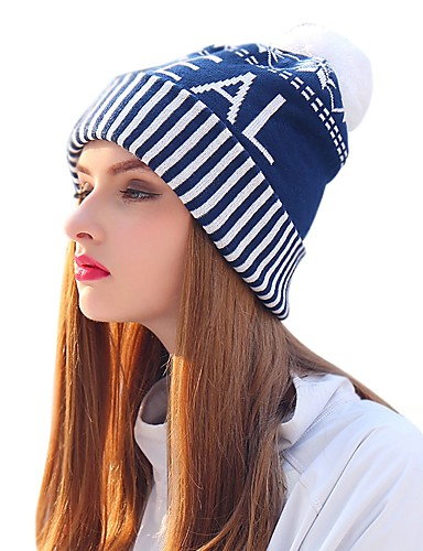 cheap Outdoor Clothing-VEPEAL Hiking Cap Skull Cap Beanie Hat Windproof Warm Stretchy Stripes Fashion Acrylic Winter for Women's Hiking Traveling Walking Black / White / Micro-elastic