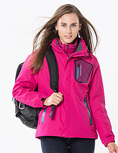 cheap Outdoor Clothing-Women's Hiking Down Jacket Hiking 3-in-1 Jackets Outdoor Waterproof Windproof Rain Waterproof Detachable Cap Autumn / Fall Winter Down Down Jacket Ski / Snowboard Camping / Hiking / Caving Traveling