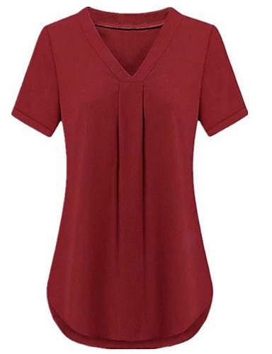 Γυναικεία Μεγάλα Μεγέθη T-shirt Βασικό / Κομψό στυλ street Μονόχρωμο Λαιμόκοψη V Φαρδιά Patchwork / Καλοκαίρι