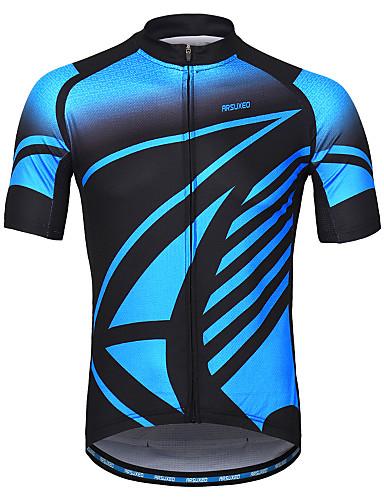 45999cffcd9 Arsuxeo Men s Short Sleeve Cycling Jersey - Blue Bike Jersey Reflective  Strips Sweat-wicking Sports 100% Polyester Mountain Bike MTB Road Bike  Cycling ...