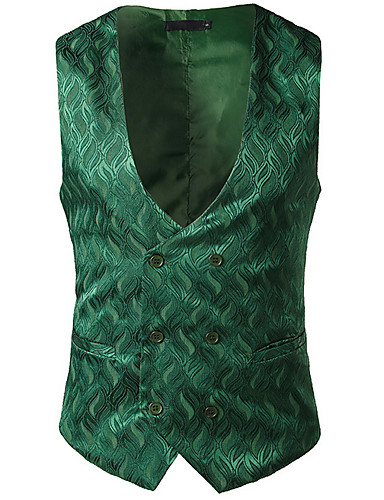voordelige Herenblazers & kostuums-Heren Werk Normaal Vest, Effen V-hals Mouwloos Polyester Wit / Zwart / Rood / Business Casual