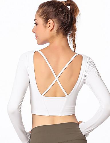 73add0b9e6 GOSOU≡R Women's Crew Neck Cross Back Yoga Top Sports Solid Color Sweatshirt Crop  Top Zumba Dance Running Long Sleeve Activewear Breathable Soft ...