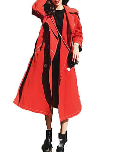 abordables Manteaux & Vestes Femme-Femme Sortie Actif Maxi Trench, Couleur Pleine Col plissé Manches Longues Polyester Rouge