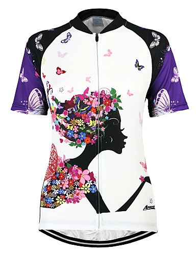 cheap Cycling Clothing-Arsuxeo Women's Short Sleeve Cycling Jersey - Purple Floral / Botanical Bike Jersey Top Breathable Quick Dry Anatomic Design Sports 100% Polyester Mountain Bike MTB Road Bike Cycling Clothing Apparel