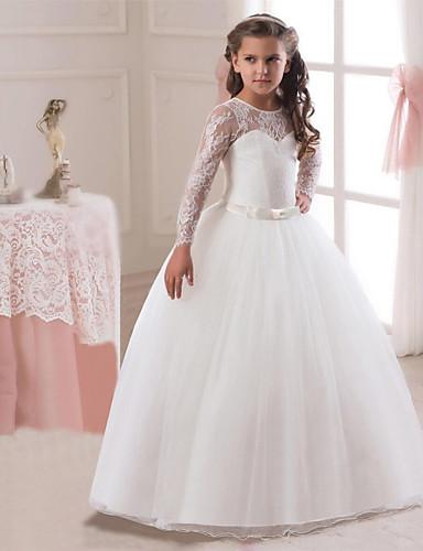 a7aabf8b9 Princesa Longitud Larga Vestido de Niña Florista - Encaje   Tul Manga Larga  Joya con Lazo