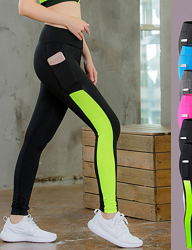 49855a69ee9 Women s Pocket Yoga Pants Grey Black   Green Fuchsia Sports Color Block  Tights Leggings Zumba Dance Running Activewear Moisture Wicking Anatomic  Design ...