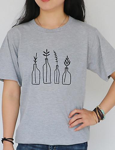 billige Topper til damer-T-skjorte Dame - Ensfarget Grunnleggende Hvit XL