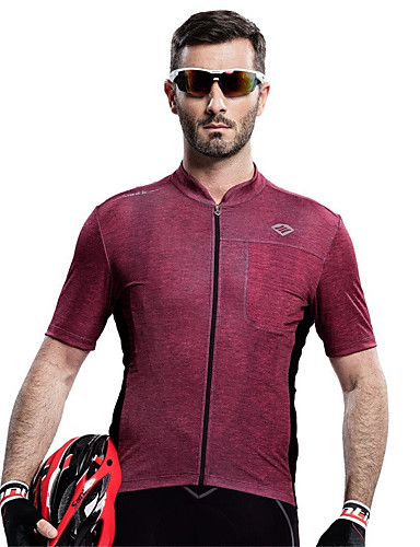 cheap Cycling Clothing-SANTIC Men's Short Sleeve Cycling Jersey - Burgundy Solid Color Bike Tee / T-shirt Jersey Top Breathable Quick Dry Ultraviolet Resistant Sports Polyester Mountain Bike MTB Road Bike Cycling Clothing