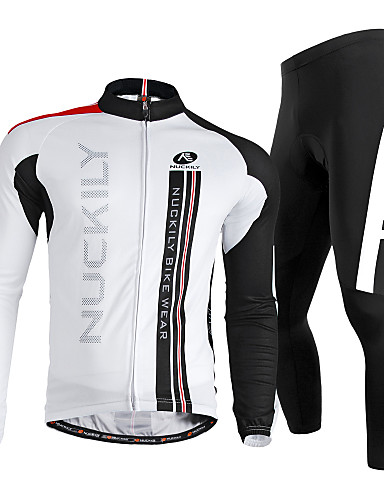 cheap Cycling Clothing-Nuckily Men's Long Sleeve Cycling Jersey with Tights - White Bike Clothing Suit Windproof Breathable Quick Dry Ultraviolet Resistant Reflective Strips Sports Polyester Lycra Vertical Stripes Mountain