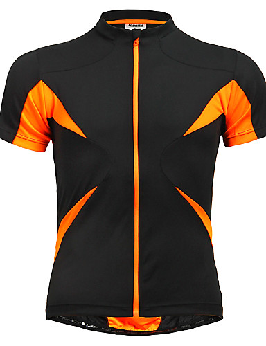 cheap Cycling Clothing-Jaggad Men's Women's Short Sleeve Cycling Jersey - Black / Orange Solid Color Bike Jersey Top Breathable Quick Dry Sports Polyester Elastane Mountain Bike MTB Road Bike Cycling Clothing Apparel