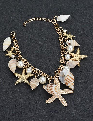 5415e6e64ce5 Mujer Tropical Brazalete colgante Perla Artificial Estrella de mar Concha  Tropical Pulseras y Brazaletes Joyas Dorado Para Boda Carnaval Noche  Cumpleaños ...