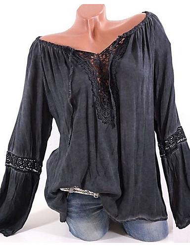 billige Dametopper-Båthals Store størrelser Skjorte Dame - Ensfarget Grunnleggende Svart / Sexy