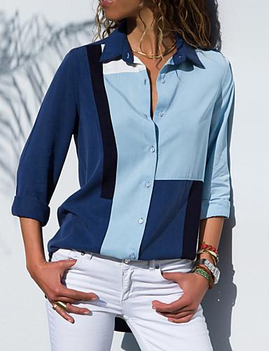 billige Topper til damer-Tynn Skjortekrage Store størrelser Bluse Dame - Fargeblokk Grunnleggende Blå