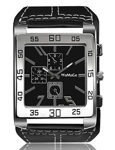5b1e86655111f رخيصةأون ساعات جلد-رجالي ساعة المعصم كوارتز المتضخم جلد أسود   الأبيض   بني  إبداعي