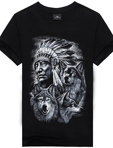 Χαμηλού Κόστους Πορτραίτο-Ανδρικά T-shirt Κομψό στυλ street / Πανκ & Γκόθικ - Βαμβάκι 3D / Ζώο / Πορτραίτο Στρογγυλή Λαιμόκοψη Στάμπα Λύκος Μαύρο XL / Κοντομάνικο / Καλοκαίρι