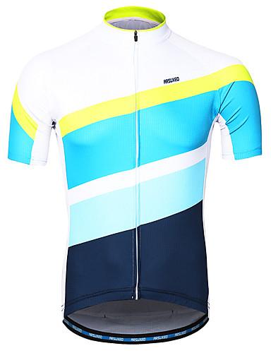 cheap Cycling Jerseys-Arsuxeo Men's Short Sleeve Cycling Jersey Blue / White Bike Jersey Reflective Strips Sweat-wicking Sports 100% Polyester Mountain Bike MTB Road Bike Cycling Clothing Apparel