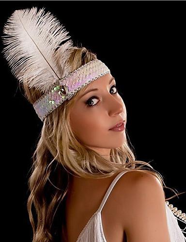 levne Kostýmy z dávných časů-The Great Gatsby Charleston Vintage 1920s Bouřlivá dvacátá léta Náhrdelník Čelenka Flapper Dámské Kostým Doplňky do vlasů İnci Kolyeler Červená / černá / Modrá / Růžová Retro Cosplay Párty Maturitn