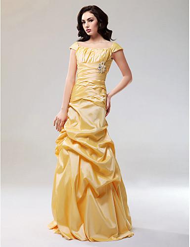 Γραμμή Α Ώμοι Έξω Μακρύ Ταφτάς Επίσημο Βραδινό Φόρεμα με Που καλύπτει / Χιαστί με TS Couture®