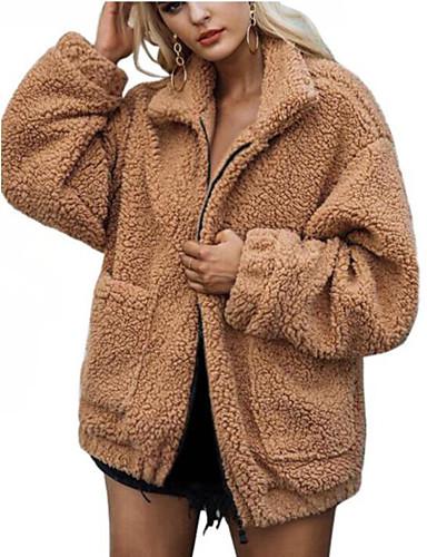 povoljno Ženske kaputi od kože i umjetne kože-Žene Dnevno Jesen / Zima Veći konfekcijski brojevi Normalne dužine Krzneni kaput, Jednobojni Kragna košulje Dugih rukava Umjetno krzno Djetelina / Crn / Deva XL / XXL / XXXL
