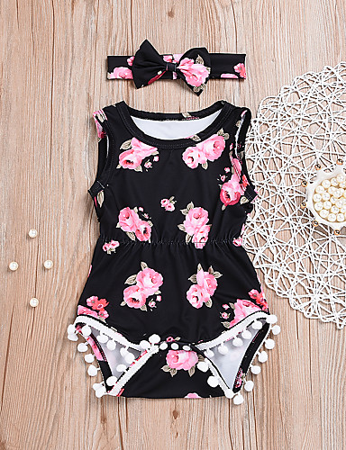 cheap 6/18-2pcs Baby Girls' Active / Punk & Gothic Daily / Holiday Floral Buckle / Print Sleeveless Cotton Romper Black / Toddler