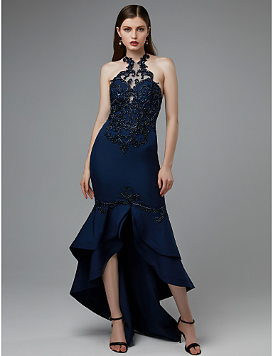 c00e6bebce24b6 Mermaid   Trumpet Halter Neck Asymmetrical Lace   Satin Cocktail Party   Formal  Evening Dress with Appliques   Split Front by TS Couture®