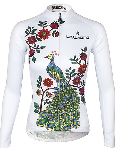 cheap Cycling Clothing-ILPALADINO Women's Long Sleeve Cycling Jersey - Black Bike Jersey Top Thermal / Warm Fleece Lining Ultraviolet Resistant Sports Winter Elastane Fleece Mountain Bike MTB Road Bike Cycling Clothing