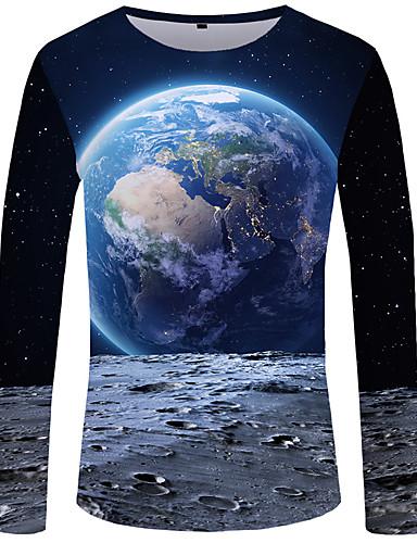 Veći konfekcijski brojevi Majica s rukavima Muškarci - Boho / Ulični šik Dnevno / Klub 3D Okrugli izrez Slim, Print Navy Plava / Dugih rukava / Zima