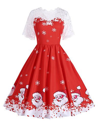 23b0c6cfd88d Women's Christmas Holiday Festival Vintage 1950s A Line Dress - Snowflake Santa  Claus, Print Spring Cotton Red L XL XXL