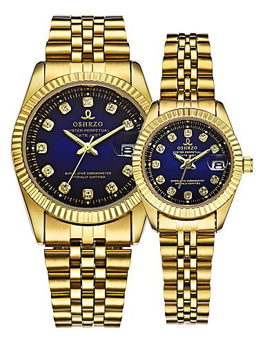 povoljno Satovi za parove-Par je Ručni satovi s mehanizmom za navijanje Zlatni sat Kvarc odgovarajući Njegova i Njezina Zlatna 30 m Kalendar Kreativan Analog Luksuz Elegantno - Zlato
