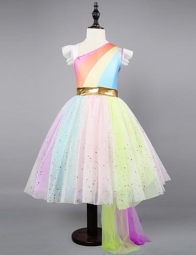 子供 / 幼児 女の子 活発的 / 甘い パーティー / 祝日 虹色 ノースリーブ アシメントリー ドレス レインボー