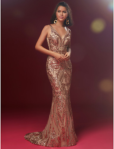 5f281db9919db cheap Evening Dresses-Jovani Style Mermaid   Trumpet V Neck Sweep   Brush  Train Sequined