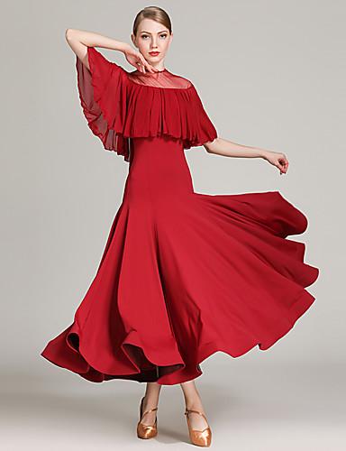 d59c0578b79b Ballroom Dance Dresses Women's Training / Performance Tulle / Ice Silk  Ruching / Split Joint Sleeveless High Dress