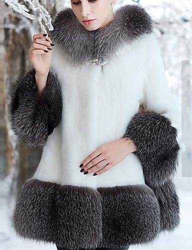 8a8bbd0e0d2 Women s Work   Party   Cocktail Street chic   Sophisticated Winter Plus  Size Long Fur Coat
