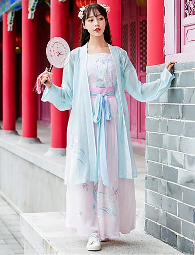 hesapli Dans kostümleri-Dans kostümleri Hanfu Kadın's Eğitim / Performans Pamuklu Nakış Uzun Kollu Etekler / Palto / Yelek