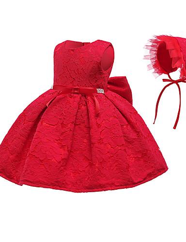 رخيصةأون 5/17-فستان قطن فوق الركبة بدون كم دانتيل لون سادة مناسب للحفلات رياضي Active / أساسي للفتيات طفل