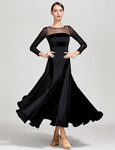 b6406b9d5a9f Ballroom Dance Dresses Women's Training / Performance Tulle / Pleuche /  Milk Fiber Split Joint Long Sleeve High Dress