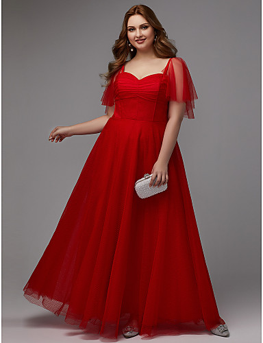 2a4c9ea89d83 Plus Size A-Line Sweetheart Neckline Floor Length Tulle Prom / Formal  Evening Dress with Pleats by TS Couture®