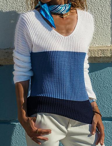 女性用 日常 ベーシック カラーブロック 長袖 レギュラー プルオーバー ブルー / ピンク M / L / XL