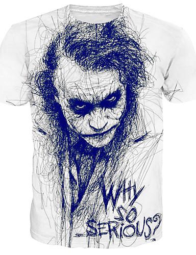 cheap Men's Tees & Tank Tops-Men's Daily Basic / Street chic Plus Size Cotton T-shirt - Portrait Print Round Neck White XXXL / Short Sleeve