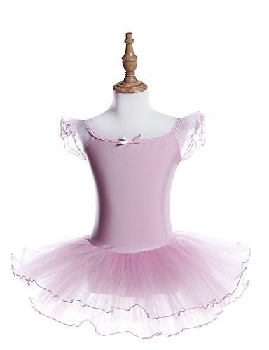 preiswerte Ballettbekleidung-Ballett Kleider Mädchen Training / Leistung Polyester / Elasthan Nierenwärmer / Bänder / Kaskaden Rüschen / Elastisch Kurzarm Kleid