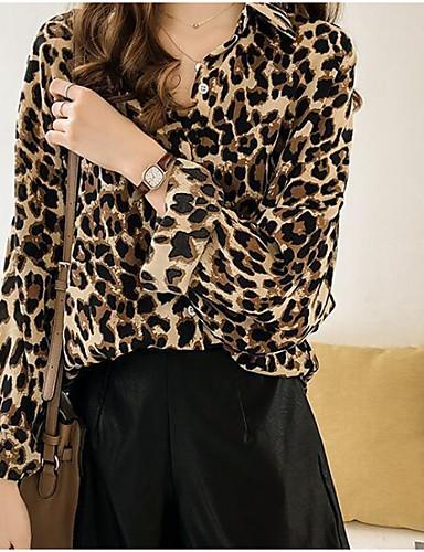 billige Dametopper-V-hals Bluse Dame - Leopard Grunnleggende Gul