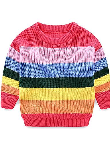 赤ちゃん 女の子 活発的 ストライプ 長袖 レギュラー セーター&カーデガン ルビーレッド / 幼児