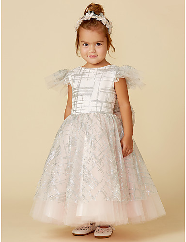 9042ff97196 Πριγκίπισσα Μέχρι τον αστράγαλο Φόρεμα για Κοριτσάκι Λουλουδιών - Τούλι /  Με πούλιες Κοντομάνικο Με Κόσμημα με Φιόγκος(οι) με LAN TING BRIDE®